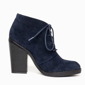 Shoemint Fanny Navy Suede Lace Up Booties